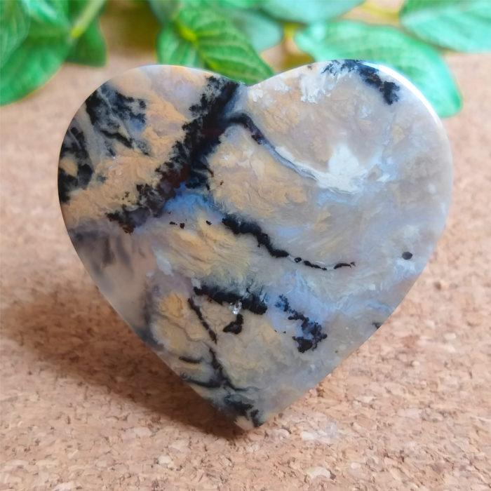 nerosty, mineral, kámen, stone, achát, agate, dendritický achát, dendrite agate, kabošon, cabochon, heart shape, srdíčko, výroba šperků, jewelry